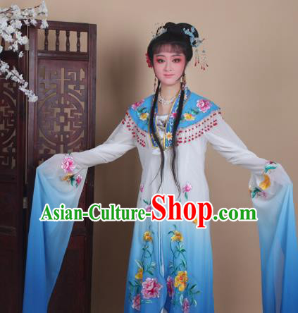 Chinese Traditional Huangmei Opera Actress Embroidered Blue Dress Beijing Opera Hua Dan Costume for Women