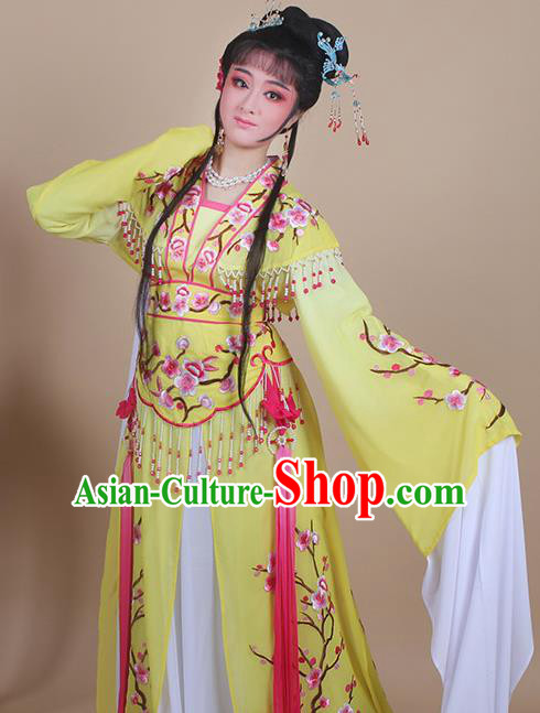 Chinese Traditional Shaoxing Opera Embroidered Plum Blossom Yellow Dress Beijing Opera Princess Hua Dan Costume for Women