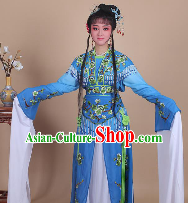 Chinese Traditional Shaoxing Opera Embroidered Plum Blossom Royalblue Dress Beijing Opera Princess Hua Dan Costume for Women