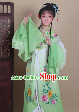 Chinese Traditional Huangmei Opera Actress Embroidered Green Dress Beijing Opera Hua Dan Costume for Women