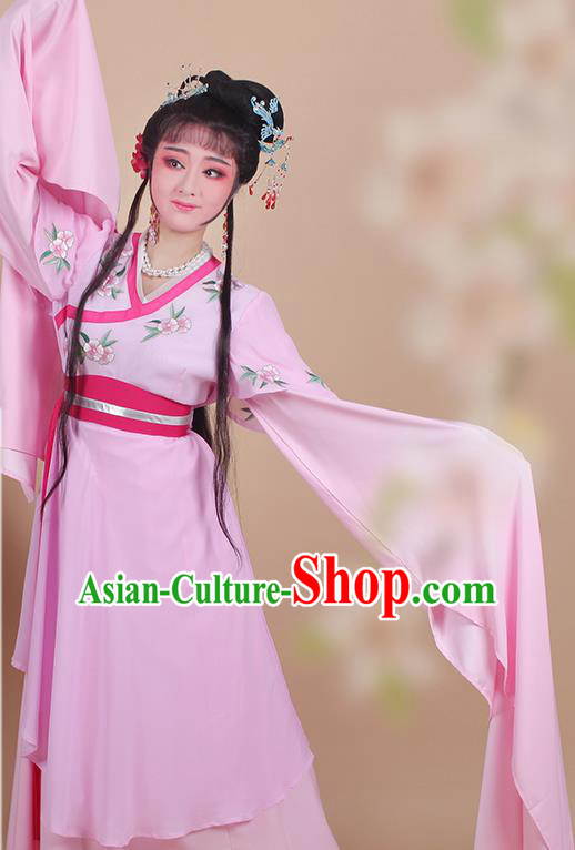 Chinese Traditional Shaoxing Opera Maidservants Embroidered Pink Dress Beijing Opera Young Lady Hua Dan Costume for Women