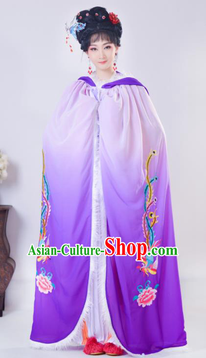Chinese Traditional Shaoxing Opera Embroidered Purple Cloak Beijing Opera Princess Hua Dan Costume for Women