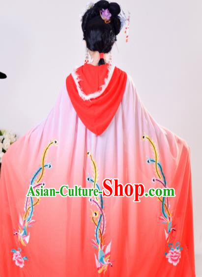 Chinese Traditional Shaoxing Opera Embroidered Red Cloak Beijing Opera Princess Hua Dan Costume for Women