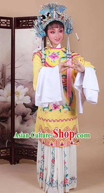 Chinese Traditional Shaoxing Opera Imperial Consort Embroidered Yellow Dress Beijing Opera Hua Dan Costume for Women