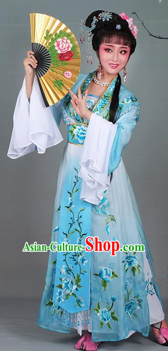 Chinese Traditional Shaoxing Opera Hua Dan Embroidered Blue Dress Beijing Opera Nobility Lady Costume for Women