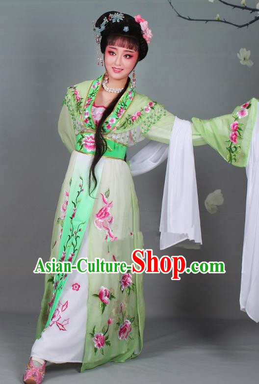 Chinese Traditional Shaoxing Opera Hua Dan Embroidered Green Dress Beijing Opera Nobility Lady Costume for Women