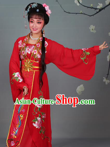 Chinese Traditional Shaoxing Opera Red Dress Beijing Opera Hua Dan Embroidered Costume for Women