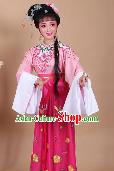 Chinese Traditional Shaoxing Opera Zhu Yingtai Rosy Dress Beijing Opera Hua Dan Embroidered Costume for Women