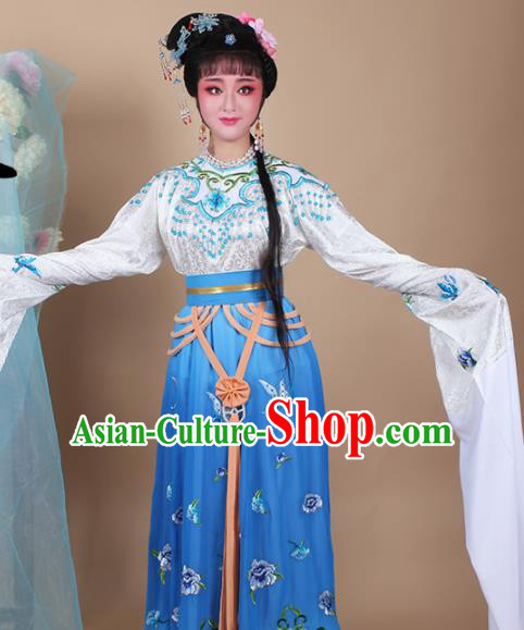 Chinese Traditional Shaoxing Opera Zhu Yingtai Blue Dress Beijing Opera Hua Dan Embroidered Costume for Women