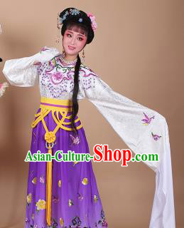 Chinese Traditional Shaoxing Opera Zhu Yingtai Purple Dress Beijing Opera Hua Dan Embroidered Costume for Women