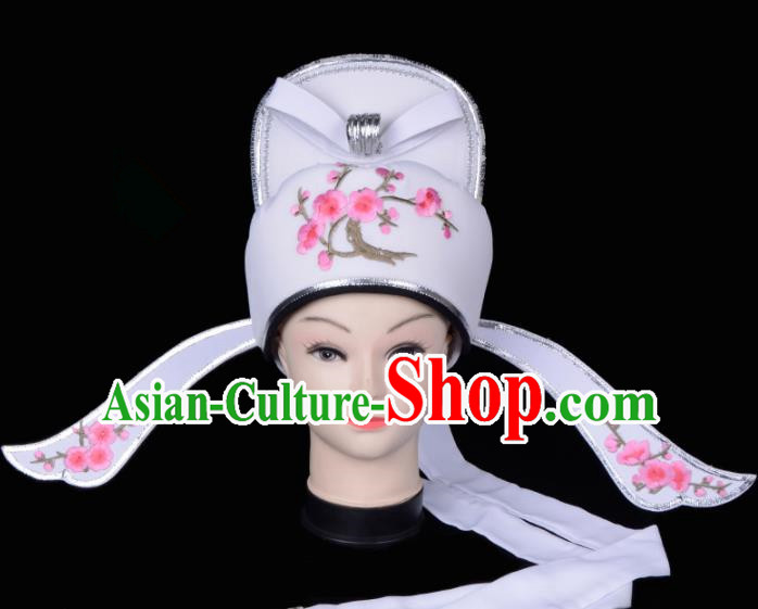 Chinese Traditional Beijing Opera Gifted Scholar Headwear Peking Opera Niche White Hat for Men