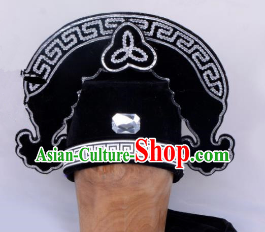 Chinese Traditional Beijing Opera Gifted Scholar Headwear Peking Opera Niche Black Hat for Men