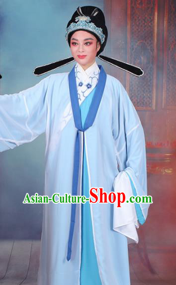 Chinese Traditional Peking Opera Scholar Blue Robe Beijing Opera Niche Costume for Men