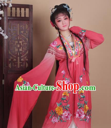 Chinese Traditional Huangmei Opera Actress Embroidered Rosy Dress Beijing Opera Hua Dan Costume for Women