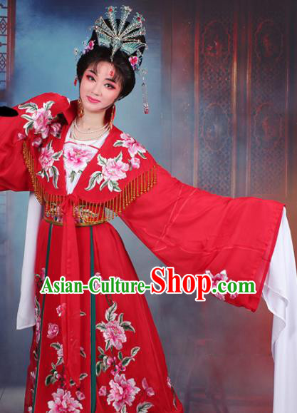 Chinese Traditional Shaoxing Opera Queen Embroidered Red Dress Beijing Opera Hua Dan Costume for Women