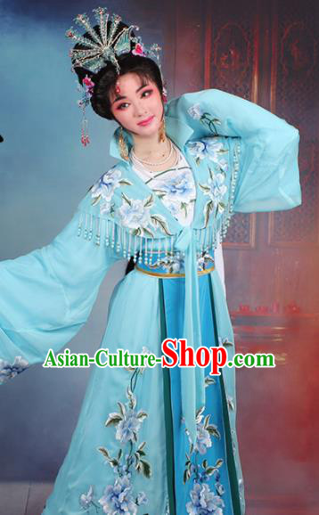 Chinese Traditional Shaoxing Opera Queen Embroidered Blue Dress Beijing Opera Hua Dan Costume for Women