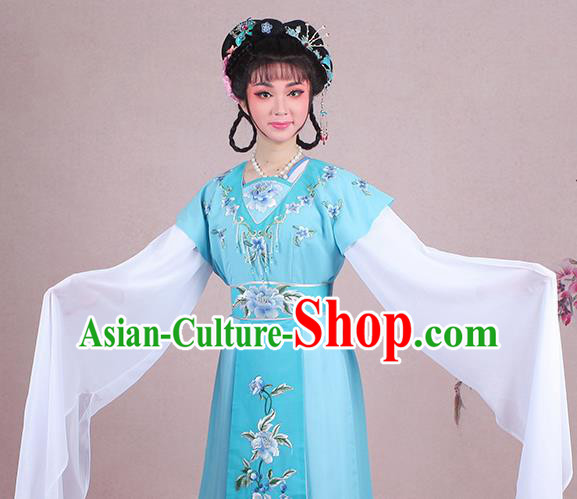 Chinese Traditional Shaoxing Opera Court Maid Embroidered Blue Dress Beijing Opera Maidservants Costume for Women