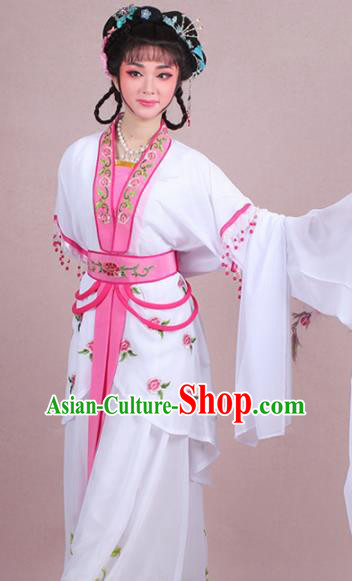Chinese Traditional Shaoxing Opera Court Maid Embroidered White Dress Beijing Opera Maidservants Costume for Women