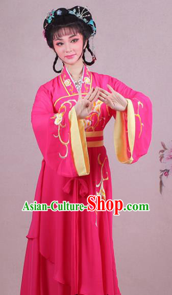 Chinese Traditional Shaoxing Opera Village Girl Embroidered Rosy Dress Beijing Opera Maidservants Costume for Women