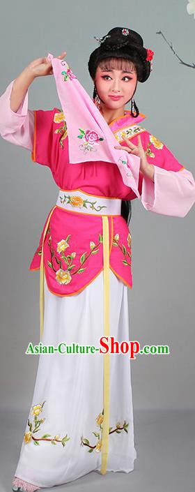 Chinese Traditional Shaoxing Opera Hua Dan Embroidered Rosy Dress Beijing Opera Village Girl Costume for Women