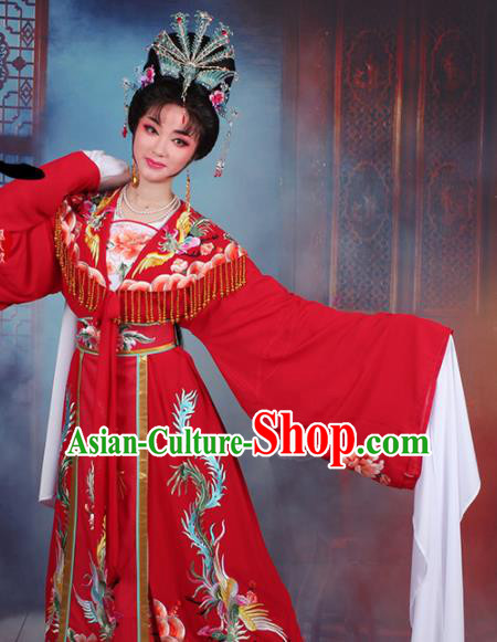 Chinese Traditional Shaoxing Opera Princess Peri Embroidered Red Dress Beijing Opera Hua Dan Costume for Women