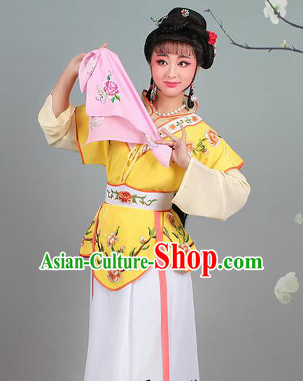 Chinese Traditional Shaoxing Opera Hua Dan Embroidered Yellow Dress Beijing Opera Village Girl Costume for Women