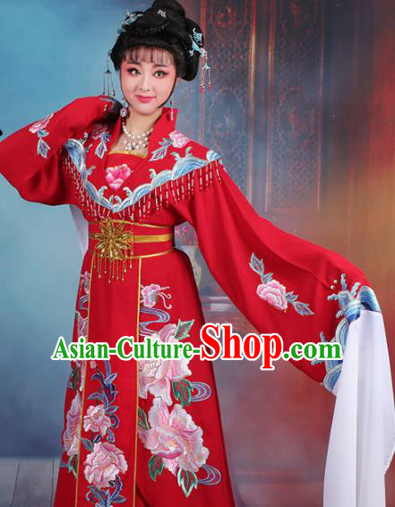 Chinese Traditional Shaoxing Opera Hua Dan Embroidered Red Dress Beijing Opera Palace Queen Costume for Women