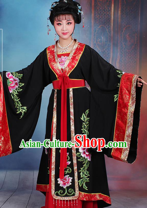 Chinese Traditional Shaoxing Opera Old Women Embroidered Black Dress Beijing Opera Palace Queen Costume for Women