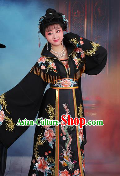 Chinese Traditional Shaoxing Opera Empress Embroidered Black Dress Beijing Opera Palace Queen Costume for Women