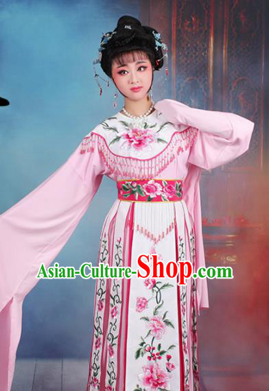 Chinese Traditional Shaoxing Opera Court Princess Embroidered Pink Dress Beijing Opera Hua Dan Costume for Women