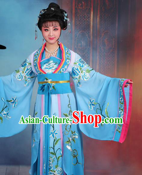 Chinese Traditional Shaoxing Opera Imperial Consort Embroidered Blue Dress Beijing Opera Hua Dan Costume for Women