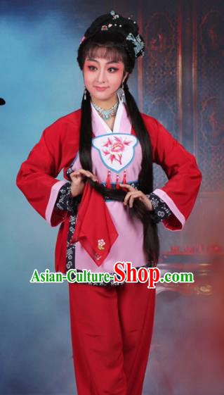Chinese Traditional Huangmei Opera Servant Girl Embroidered Red Dress Beijing Opera Maidservants Costume for Women