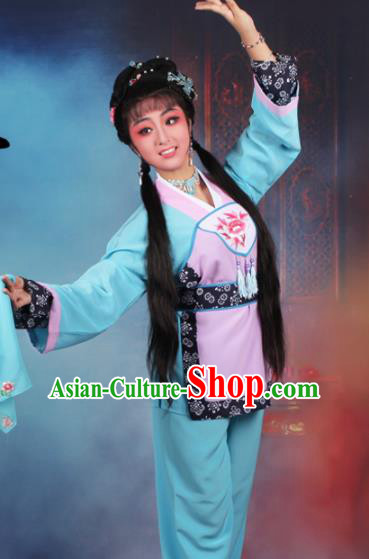 Chinese Traditional Huangmei Opera Servant Girl Embroidered Blue Dress Beijing Opera Maidservants Costume for Women