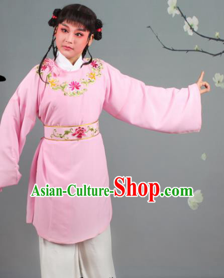 Chinese Traditional Peking Opera Livehand Pink Clothing Beijing Opera Servant Costume for Men