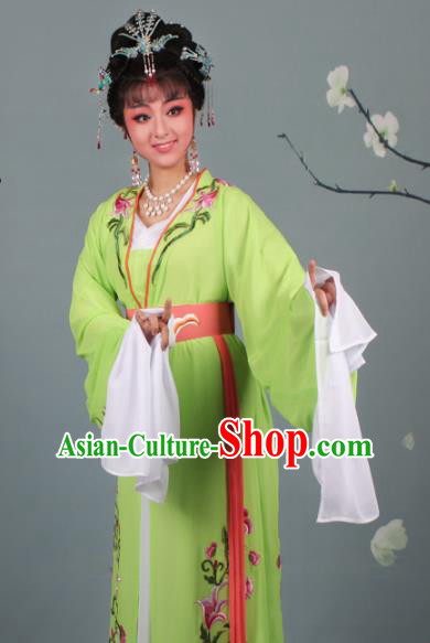 Chinese Traditional Huangmei Opera Princess Embroidered Green Dress Beijing Opera Hua Dan Costume for Women