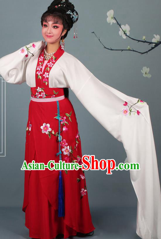 Chinese Traditional Huangmei Opera Rich Lady Embroidered Red Dress Beijing Opera Hua Dan Costume for Women