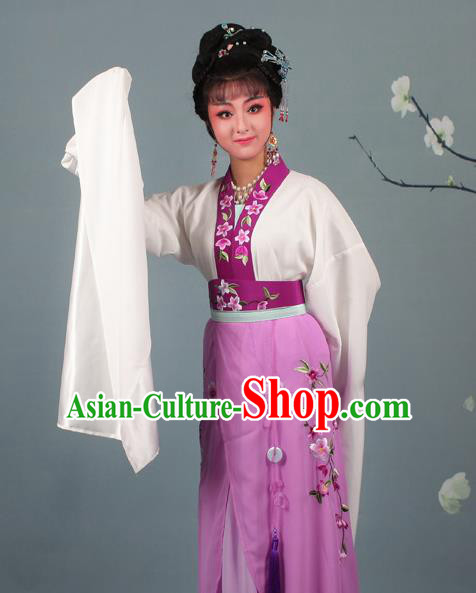 Chinese Traditional Huangmei Opera Rich Lady Embroidered Purple Dress Beijing Opera Hua Dan Costume for Women