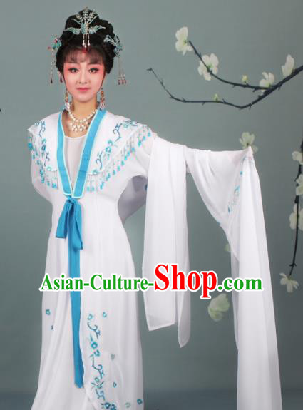 Chinese Traditional Huangmei Opera Rich Lady Embroidered White Dress Beijing Opera Hua Dan Costume for Women