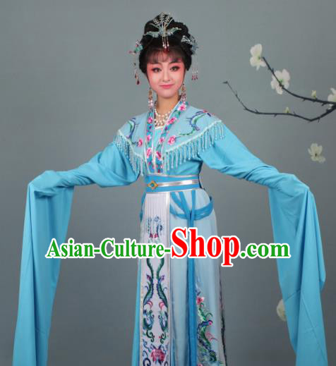 Chinese Traditional Huangmei Opera Imperial Consort Embroidered Blue Dress Beijing Opera Court Lady Costume for Women