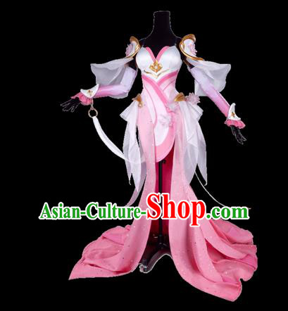 Chinese Traditional Cosplay Princess Embroidered Pink Dress Ancient Swordswoman Costume for Women