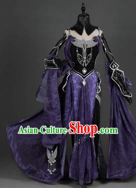 Chinese Traditional Cosplay Princess Embroidered Purple Dress Ancient Swordswoman Costume for Women