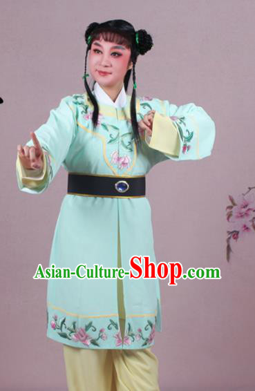 Chinese Traditional Peking Opera Servant Green Clothing Beijing Opera Livehand Costume for Men