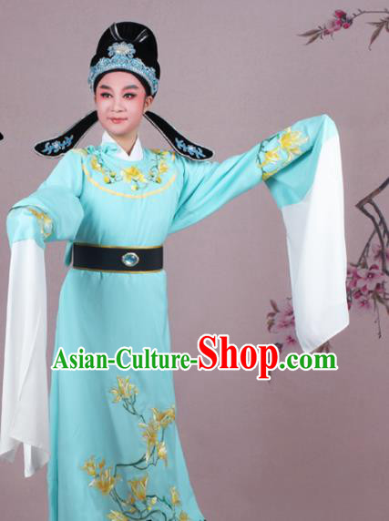 Chinese Traditional Peking Opera Nobility Childe Blue Robe Beijing Opera Niche Embroidered Mangnolia Costume for Men