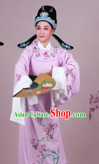 Chinese Traditional Peking Opera Nobility Childe Purple Robe Beijing Opera Niche Embroidered Mangnolia Costume for Men