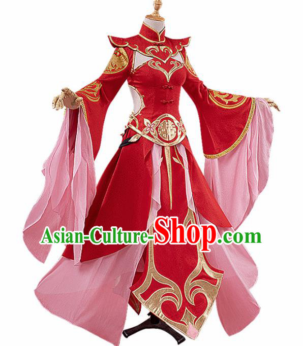 Chinese Traditional Cosplay Peri Red Hanfu Dress Ancient Halloween Swordswoman Costume for Women