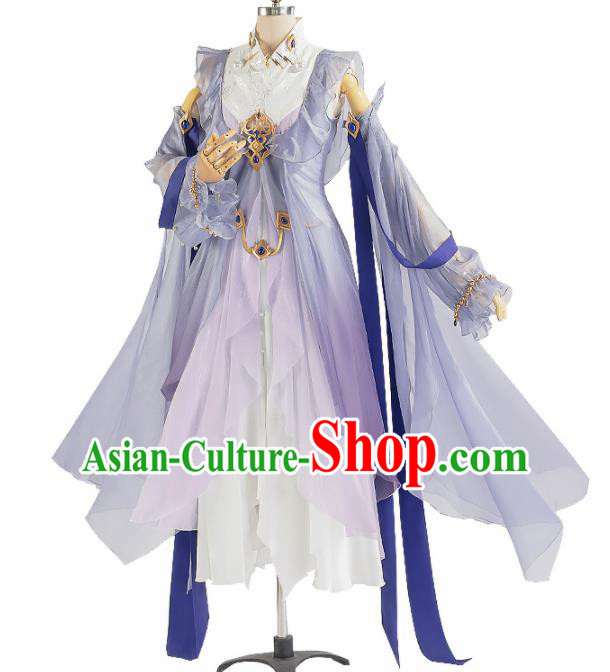 Chinese Traditional Female Knight Purple Hanfu Dress Ancient Swordswoman Costume for Women