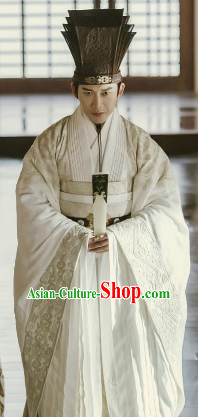 Chinese Ancient Prime Minister Clothing The Lengend of Haolan Qin Dynasty Chancellor Lv Buwei Historical Costume for Men