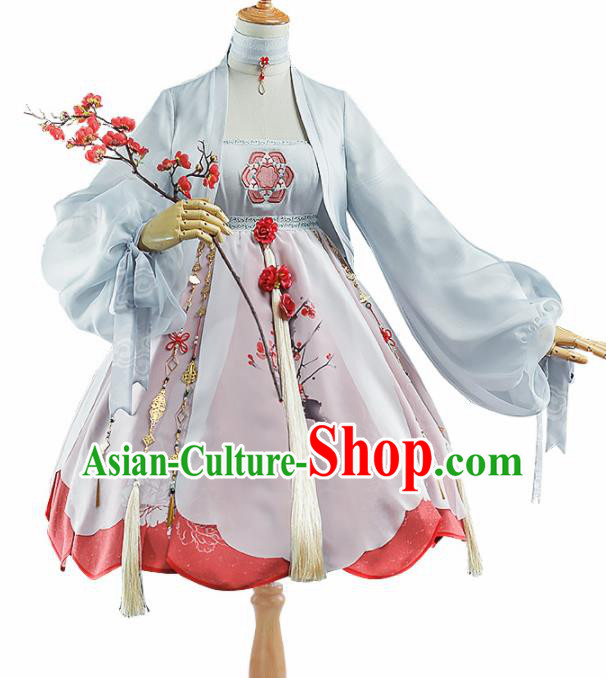 Chinese Traditional Halloween Cosplay Swordswoman Costume Ancient Knight Hanfu Dress for Women