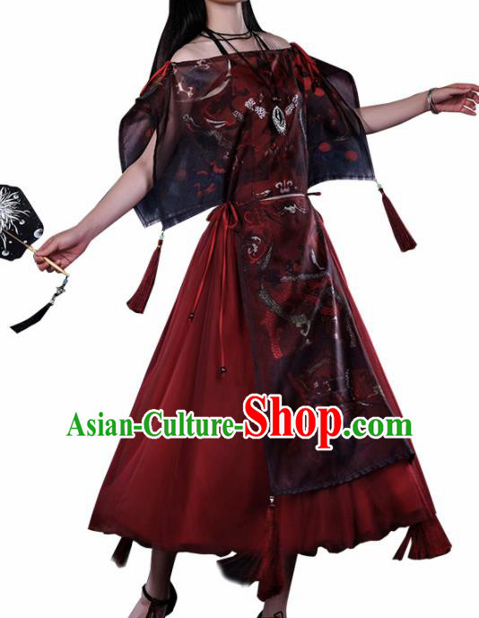 Traditional Halloween Cosplay Swordswoman Costume Ancient Knight Red Dress for Women