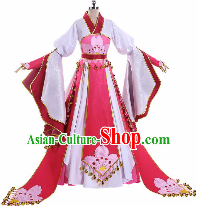 Traditional Halloween Cosplay Swordswoman Costume Chinese Ancient Princess Pink Hanfu Dress for Women